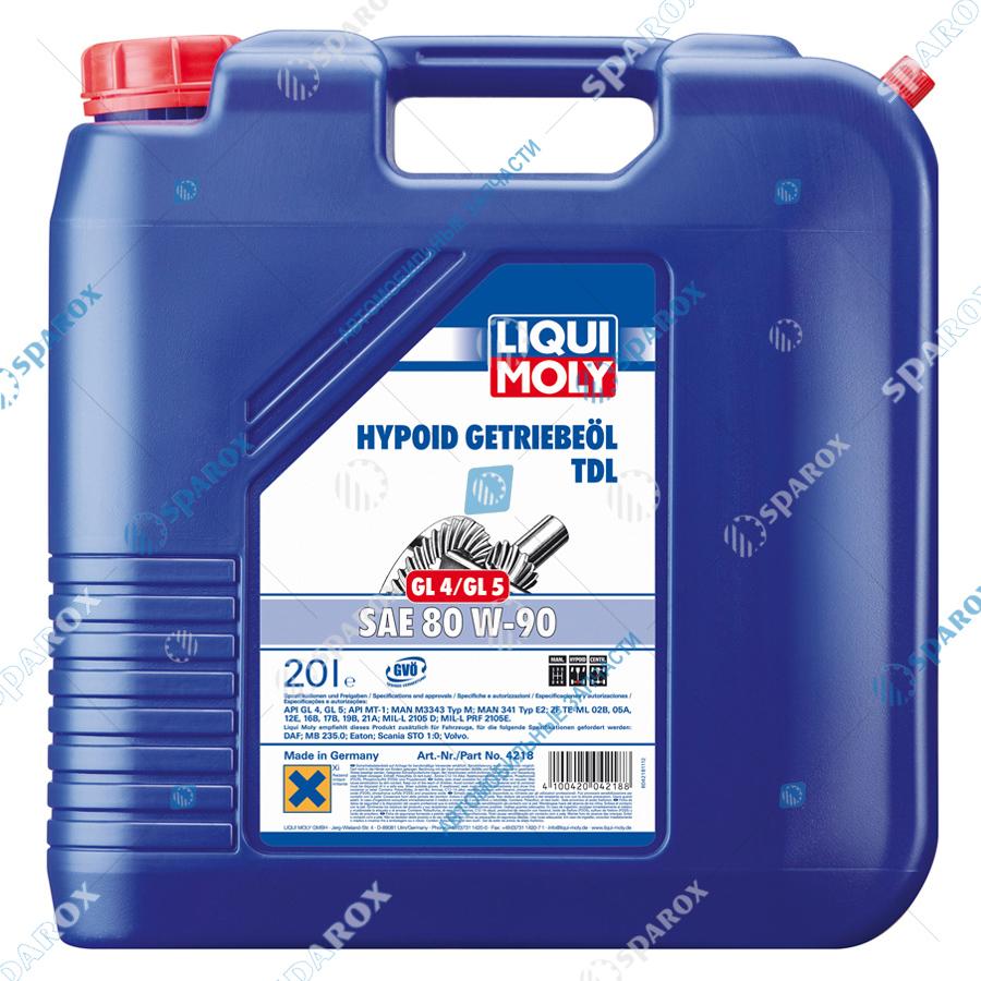 LIQUI MOLY-4218 Масло трансмиссионное минеральное масло Hypoid-Getriebeoil TDL 80W-90 (20 л)