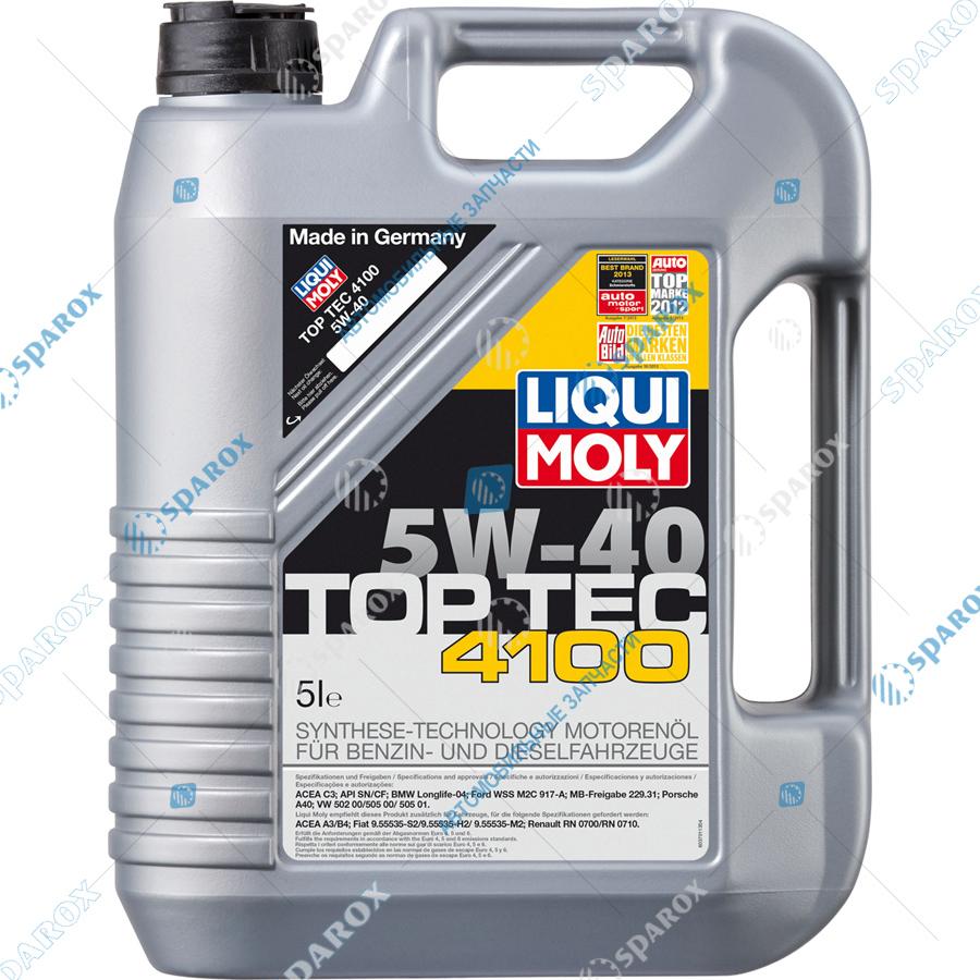 LIQUI MOLY-7501 Масло моторное НС-синтетическое 5W-40 Top Tec 4100 (5 л)
