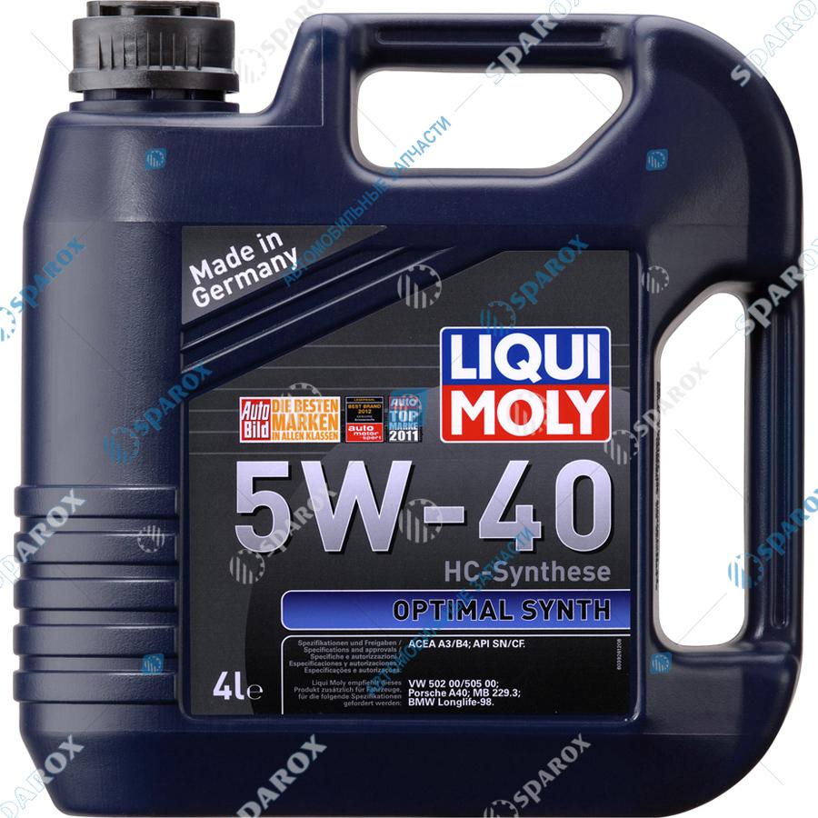 LIQUI MOLY-3926F Масло мотор. 5W-40 НС-синт. Optimal Synth (4л.) + Антисептик