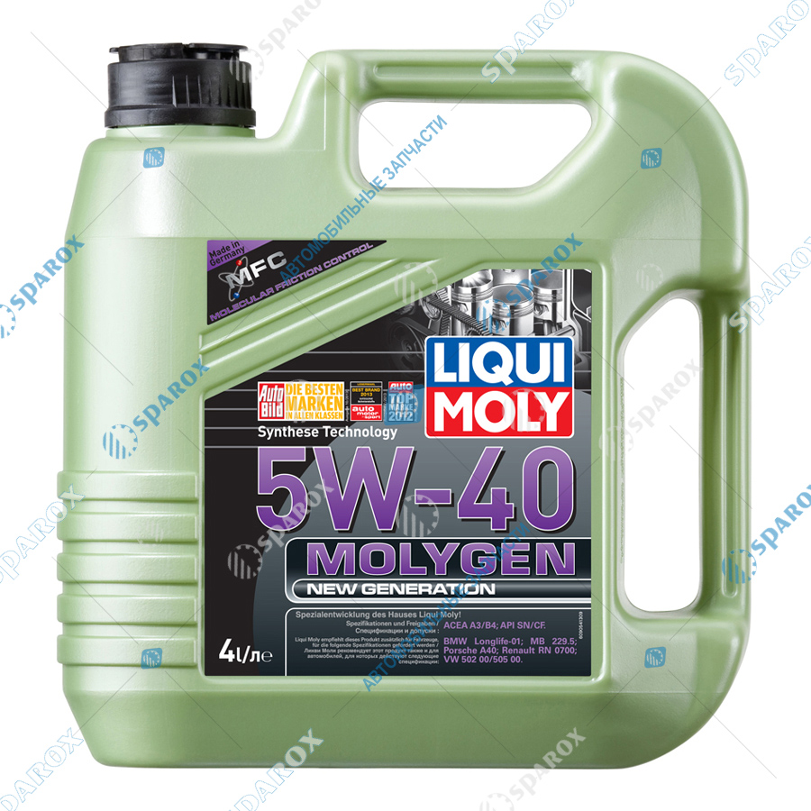 LIQUI MOLY-9054D Масло мотор. синтетика Molygen New Generation 5W-40 SN/CF;A3/B4 (4л) +фонарик