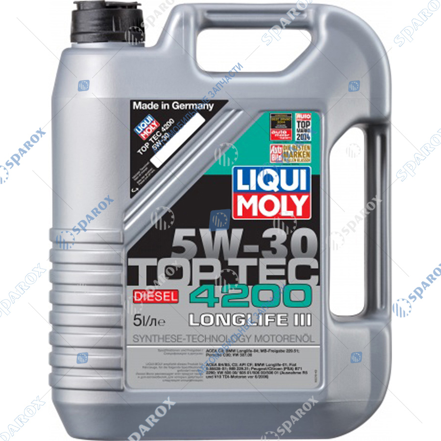 LIQUI MOLY-2376 Масло моторное НС-синтетическое Top Tec 4200 Diesel 5W-30 CF;C3 (5 л)