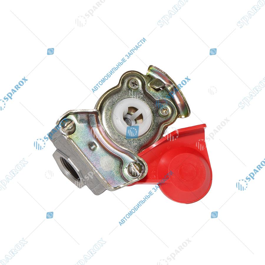 6022-3521110-10 Головка соединительная (красная) 22 мм с клапаном (4522002110) (БелОМО).